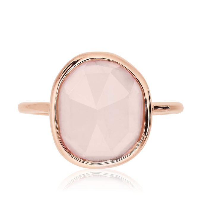 Rose Gold Vermeil Siren Medium Stacking Ring - Rose Quartz front