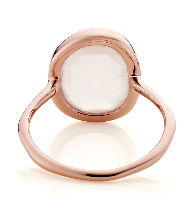 Rose Gold Vermeil Siren Medium Stacking Ring - Rose Quartz back