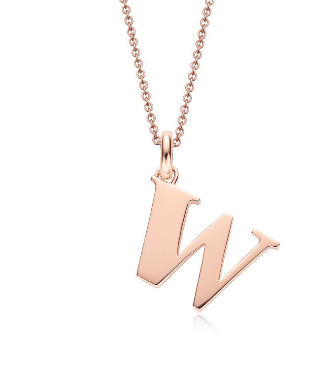Rose Gold Vermeil Alphabet Pendant W Chain