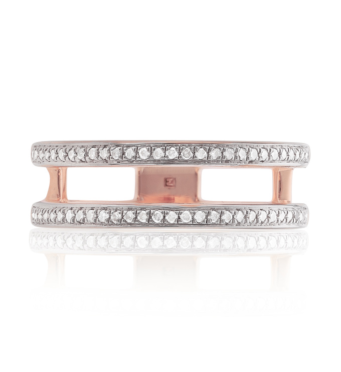 Rose Gold Vermeil Skinny Diamond Double Band Ring Front