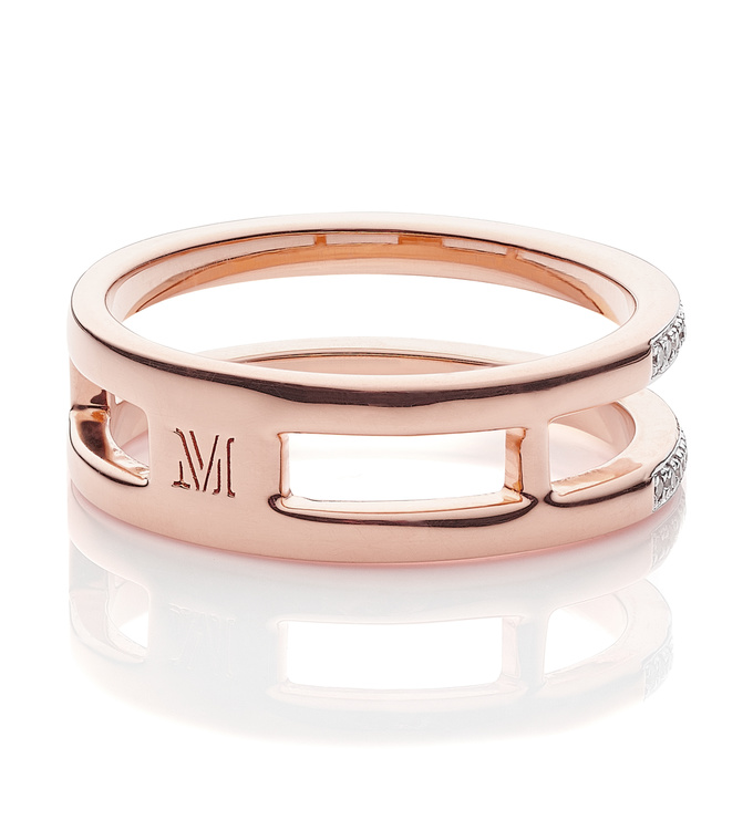 Rose Gold Vermeil Skinny Diamond Double Band Ring Back