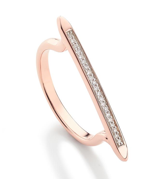 Rose Gold Vermeil Skinny Stacking Ring - Diamond