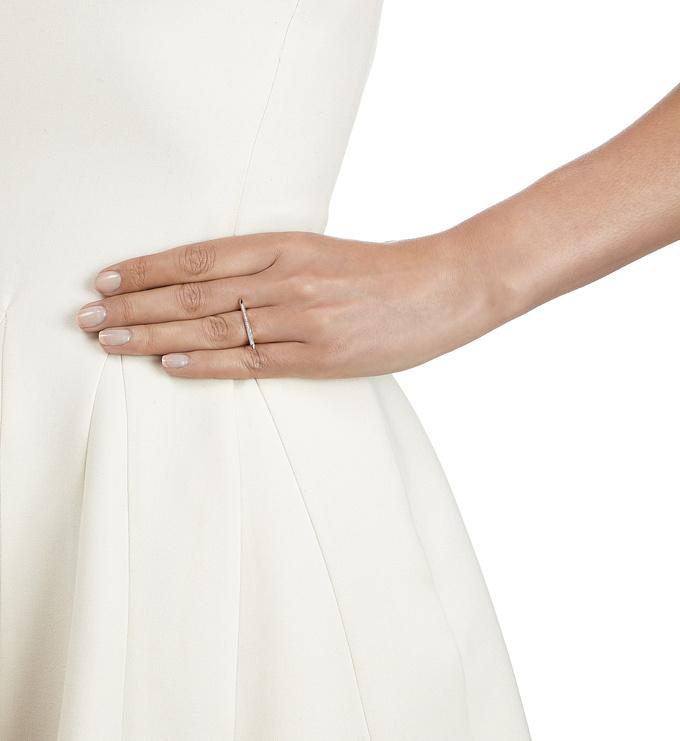 Rose Gold Vermeil Skinny Stacking Ring - Diamond Model