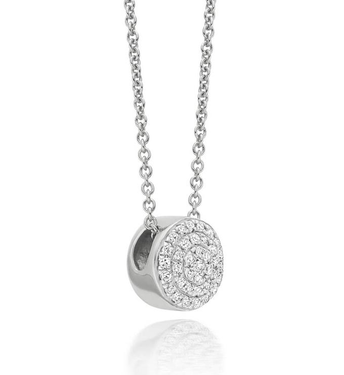 Sterling Silver Fiji Button Necklace - Diamond - Monica Vinader