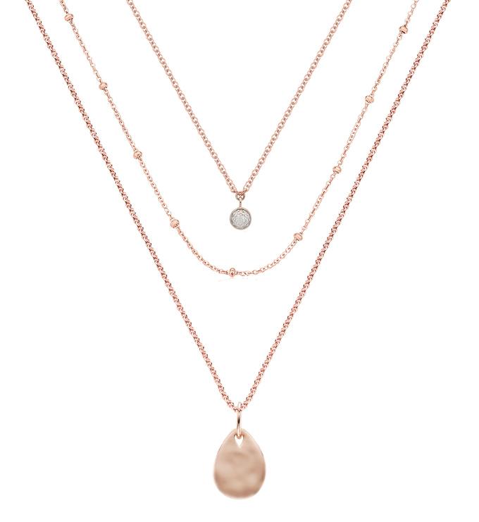 Fiji Tiny Button, Beaded Chain, Fine Chain and Ziggy Mini Petal Necklace Set - Monica Vinader