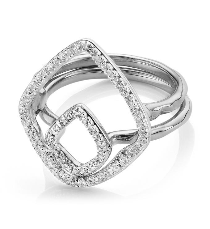 Riva Hoop and Kite Diamond Ring Set - Monica Vinader