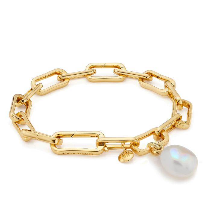 Gold Vermeil Alta Capture and Pearl Bracelet Set - Monica Vinader