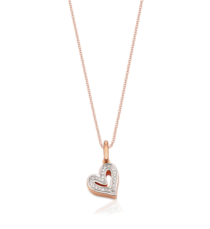 Alphabet Heart Diamond Pendant Charm Necklace Set - Monica Vinader