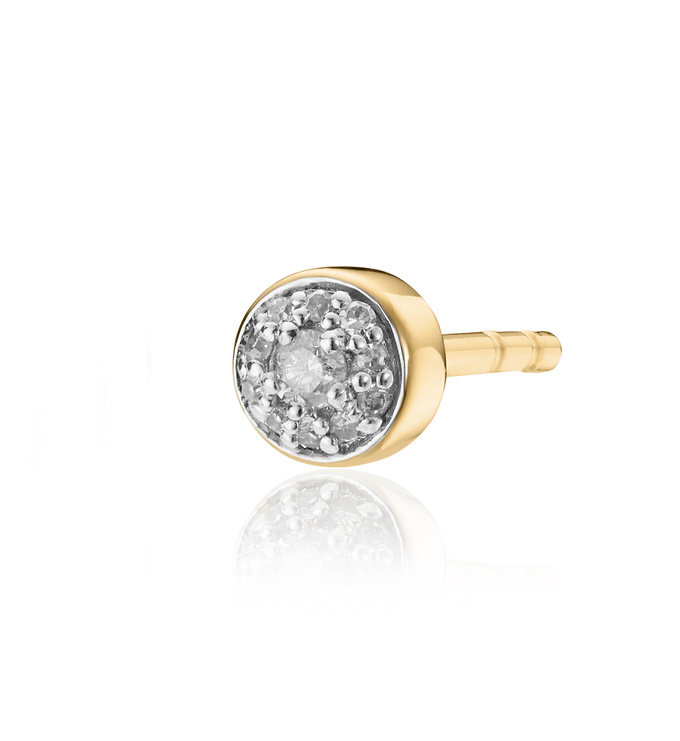 Gold Vermeil Fiji Tiny Button Diamond Single Stud Earring - Diamond - Monica Vinader