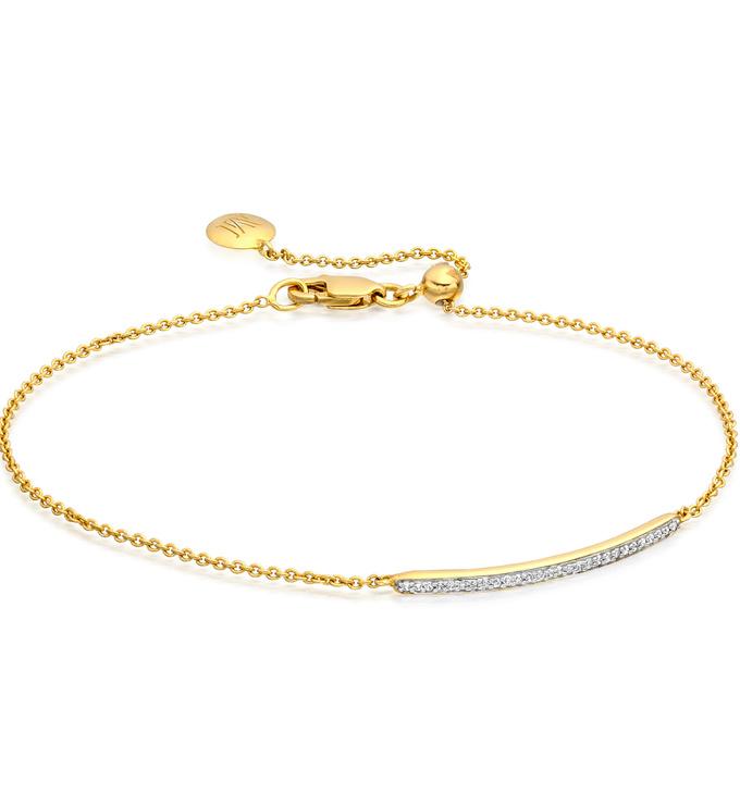 Gold Vermeil Skinny Short Bar Bracelet - Diamond - Monica Vinader