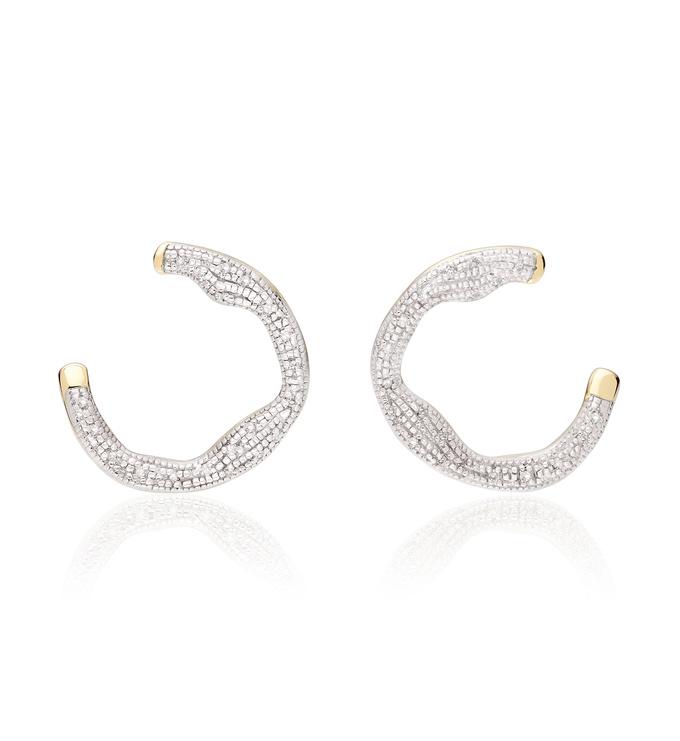 Gold Vermeil Riva Diamond Circle Wrap Earrings - Diamond - Monica Vinader