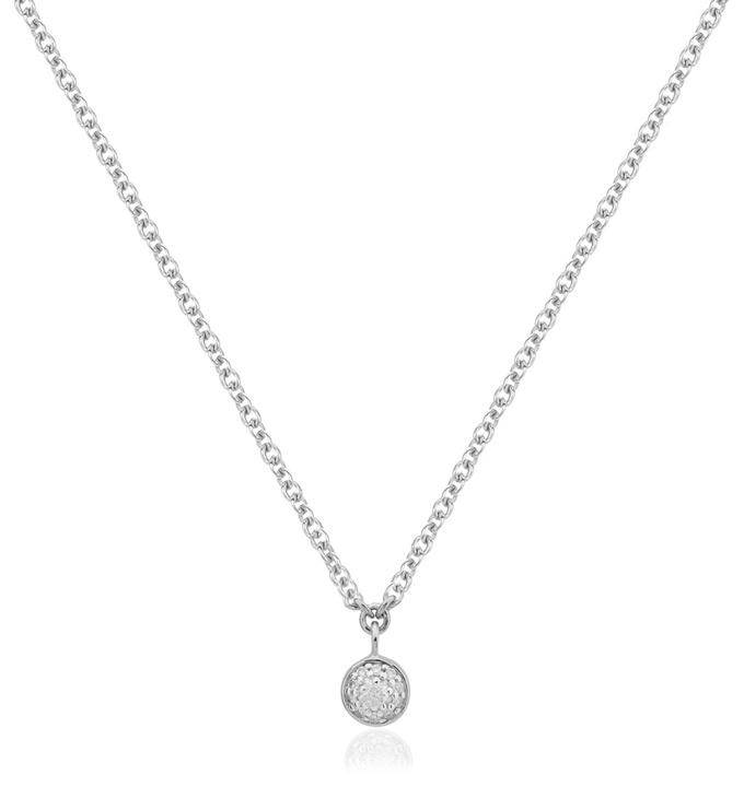 Sterling Silver Fiji Tiny Button Single Drop Diamond Necklace - Diamond - Monica Vinader
