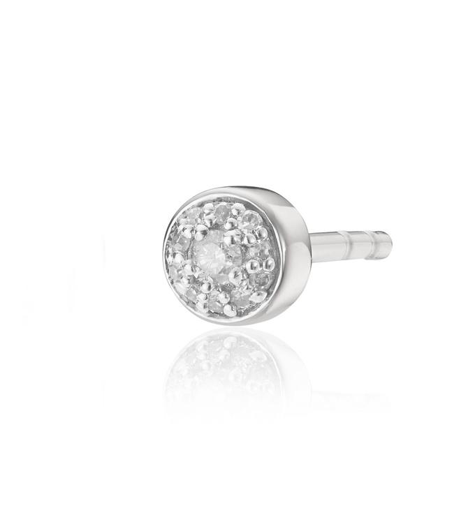 Sterling Silver Fiji Tiny Button Diamond Single Stud Earring - Diamond - Monica Vinader
