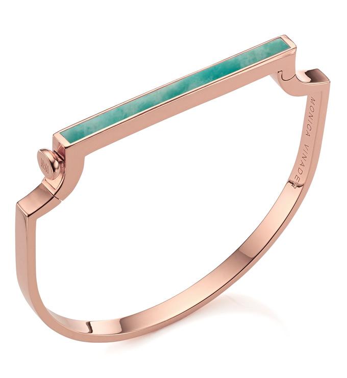 Rose Gold Vermeil Signature Thin Gemstone Bangle - Amazonite - Monica Vinader