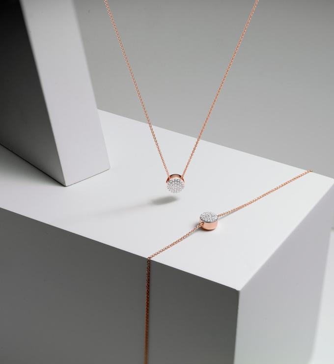 Rose Gold Vermeil Ava Button Bracelet - Diamond Still Life