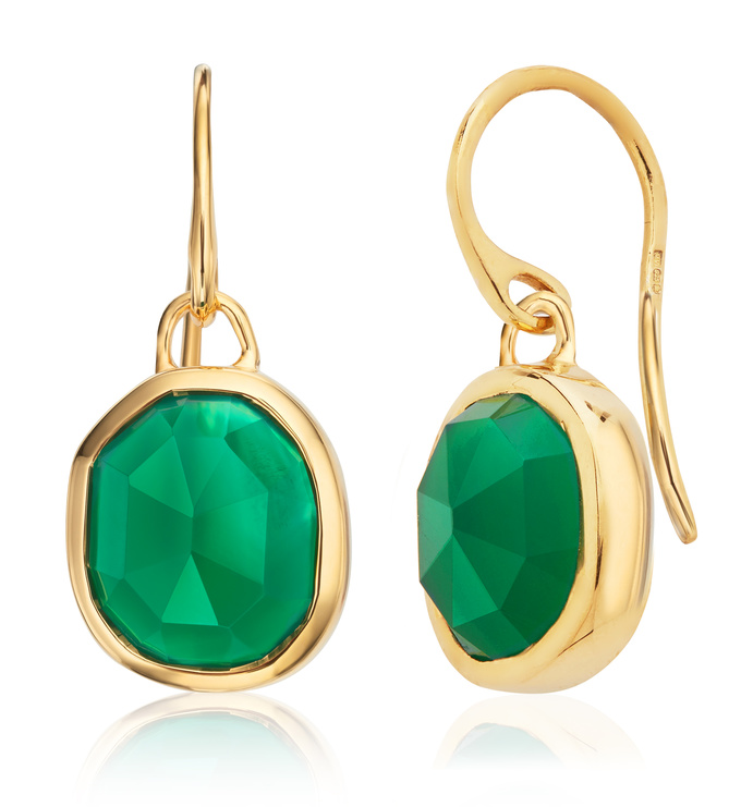 Sterling Silver Dyed Emerald Earrings with Gold Plating
