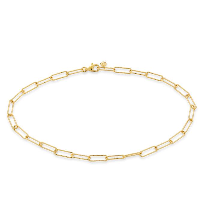 Gold Vermeil Alta Textured Chain Anklet - Monica Vinader