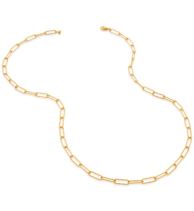 Gold Vermeil Alta Textured Chain Necklace - Monica Vinader