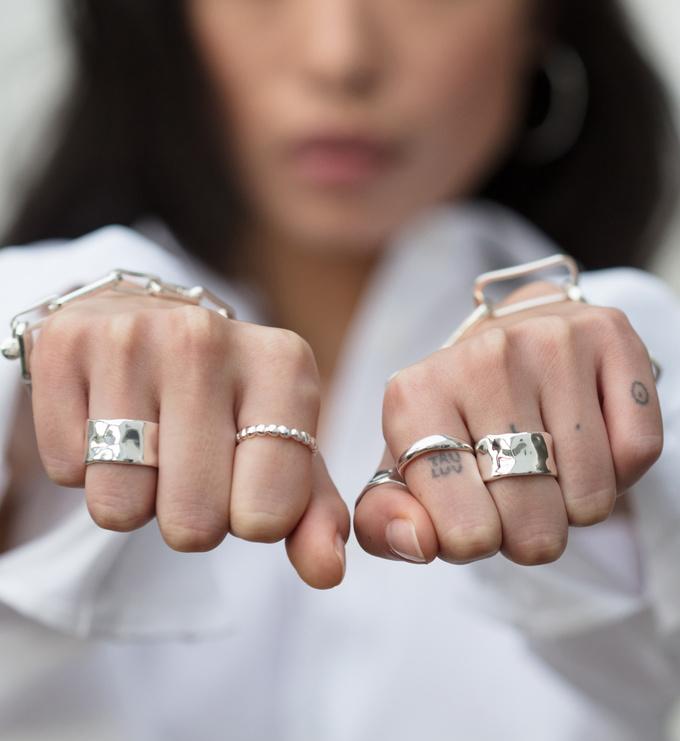 Sterling Silver Siren Muse Wide Ring - Monica Vinader