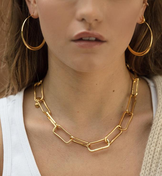 Gold Vermeil Deia Chamfered Hoops - Monica Vinader