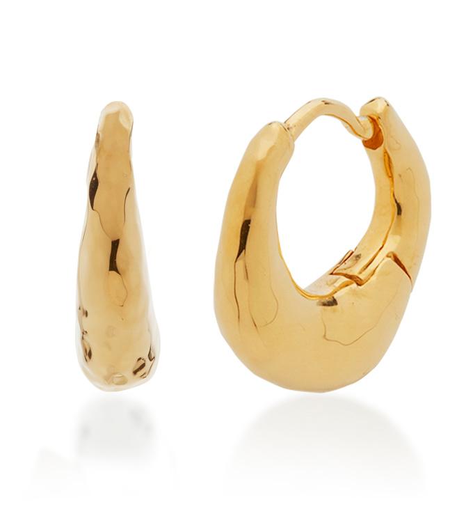Gold Vermeil Deia Huggie Earrings - Monica Vinader