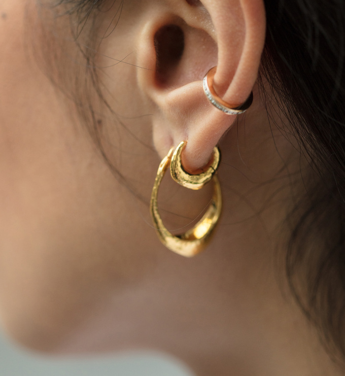 Rose Gold Vermeil Deia Huggie Earrings - Monica Vinader