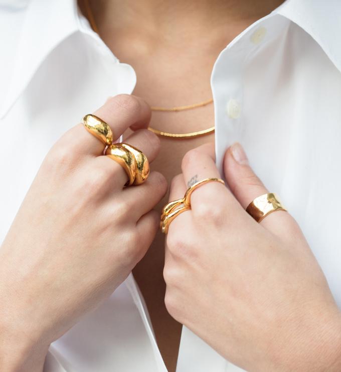 Gold Vermeil Deia Domed Ring - Monica Vinader