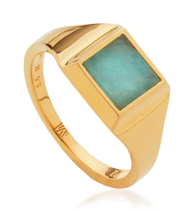 Gold Vermeil Signature Signet Gemstone Ring - Amazonite - Monica Vinader
