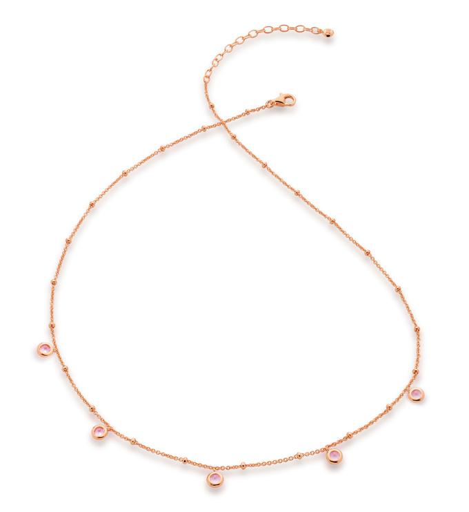 Rose Gold Vermeil Mini Gem Necklace - Pink Tourmaline - Monica Vinader