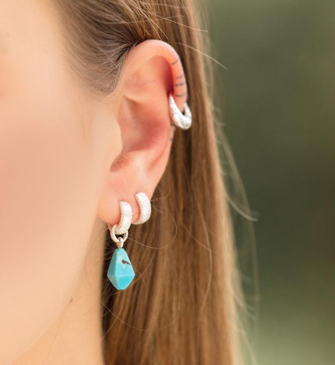 Sterling Silver Doina Gemstone Pendant Charm - Turquoise - Monica Vinader
