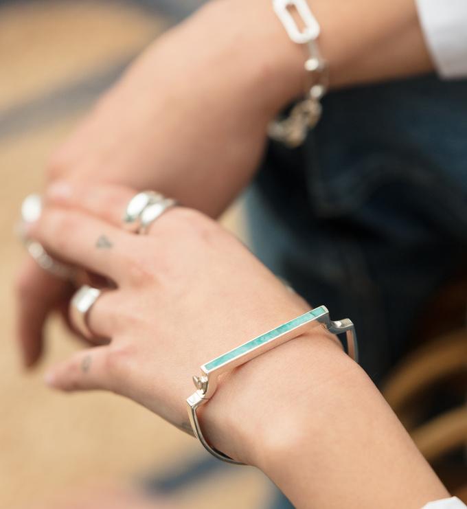 Sterling Silver Signature Thin Gemstone Bangle - Amazonite - Monica Vinader