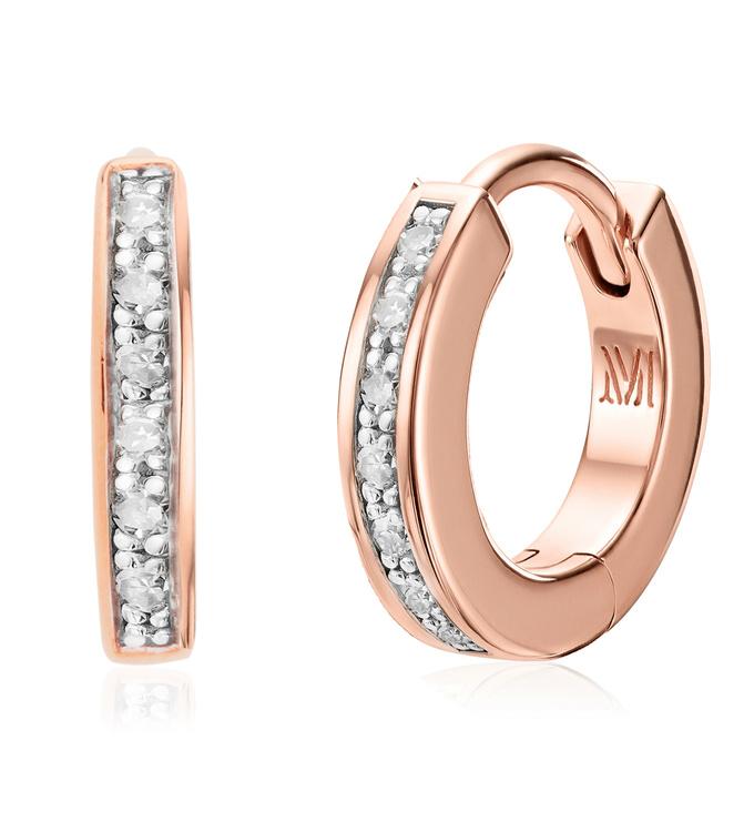 Rose Gold Vermeil Skinny Diamond Huggie Earrings - Diamond - Monica Vinader