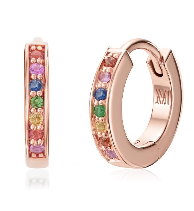 Rose Gold Vermeil Skinny Sapphire Huggie Earrings - Sapphire Mix - Monica Vinader