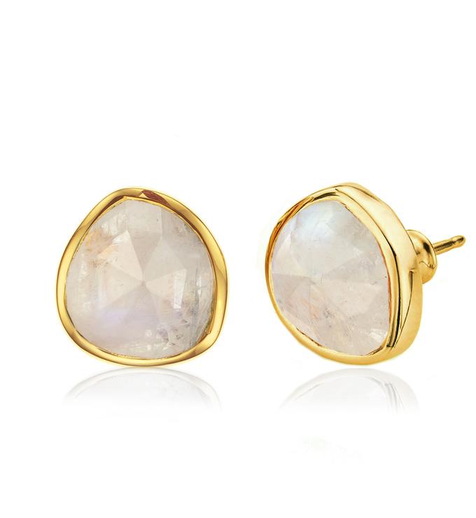 Gold Vermeil Siren Stud Earrings - Moonstone - Monica Vinader
