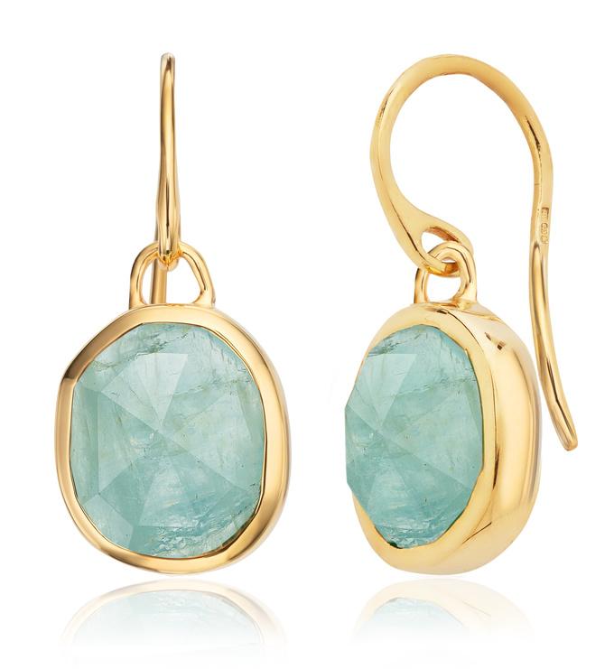Gold Vermeil Siren Wire Earrings - Aquamarine - Monica Vinader