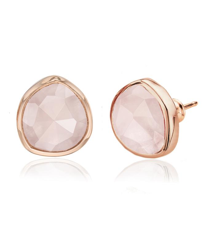 Rose Gold Vermeil Siren Stud Earrings - Rose Quartz - Monica Vinader