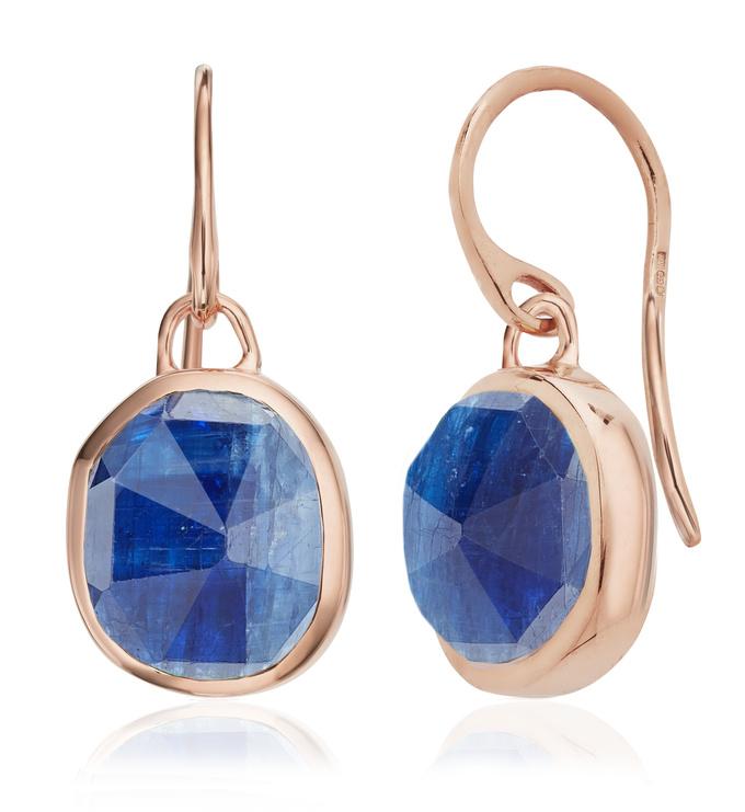 Rose Gold Vermeil Siren Wire Earrings - Kyanite - Monica Vinader