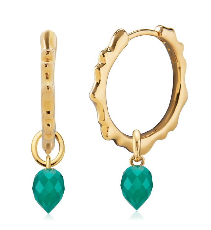 Gold Vermeil Siren Muse Small Hoop and Fiji Bud Earring Set- Green Onyx - Monica Vinader