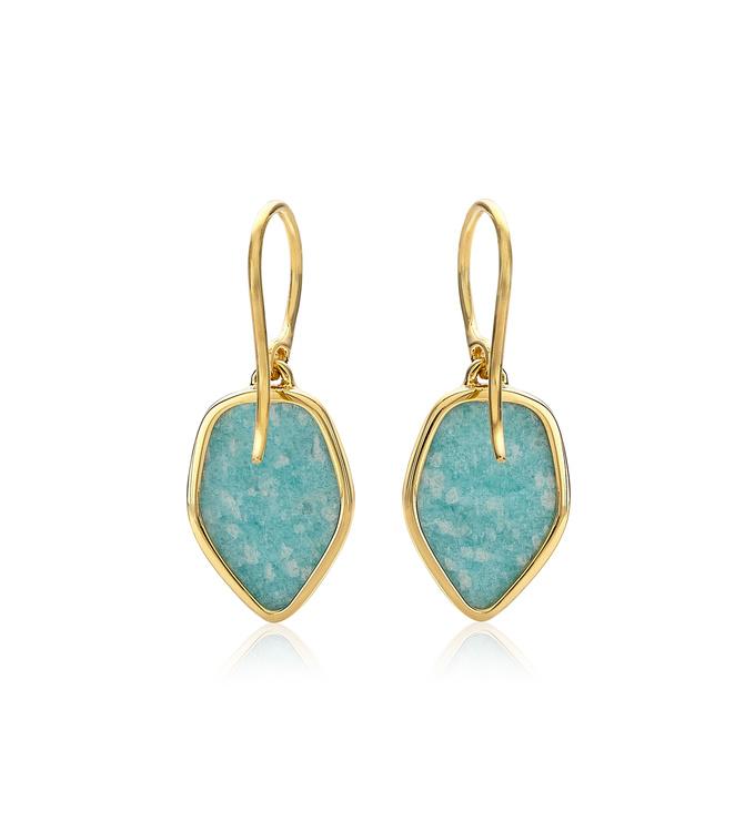 Gold Vermeil Atlantis Flint Drop Earrings - Amazonite 3