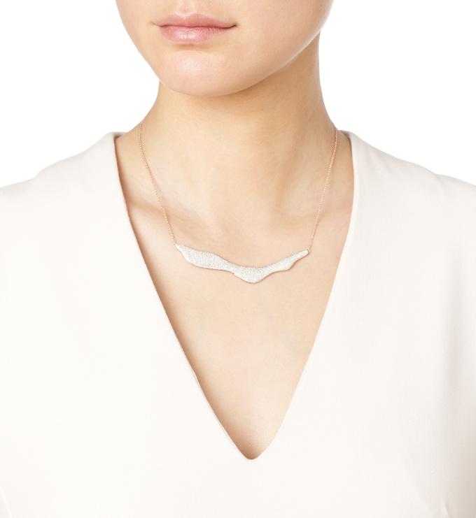Rose Gold Vermeil Riva Wave Necklace Model Shot