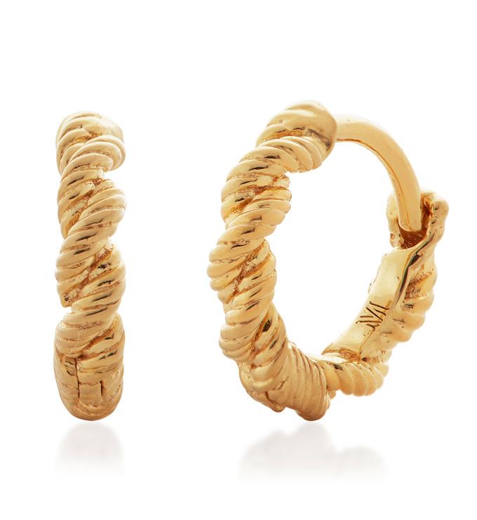 Gold Vermeil Corda Huggie Earrings - Monica Vinader