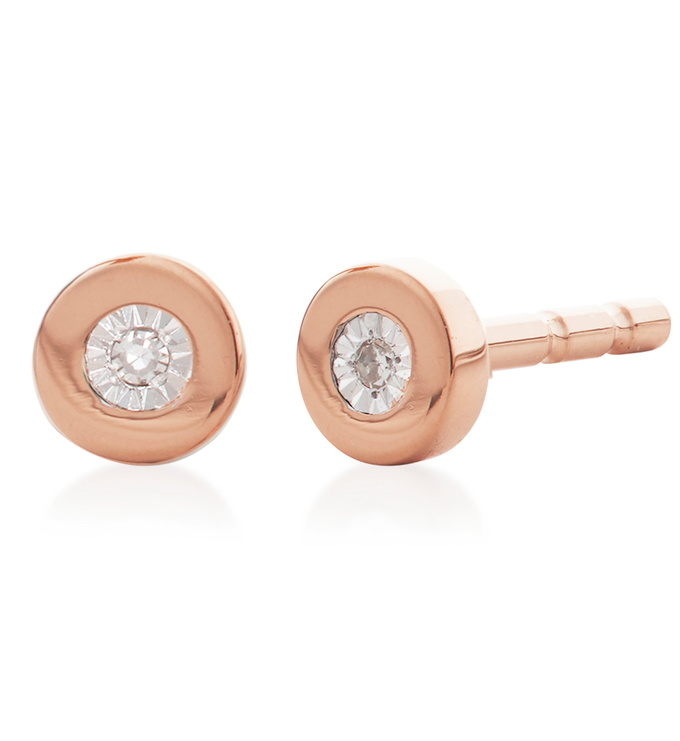 Rose Gold Vermeil Linear Diamond Stud Earrings - Diamond - Monica Vinader