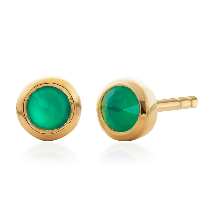 Gold Vermeil Mini Gem Stud Earrings - Green Onyx - Monica Vinader