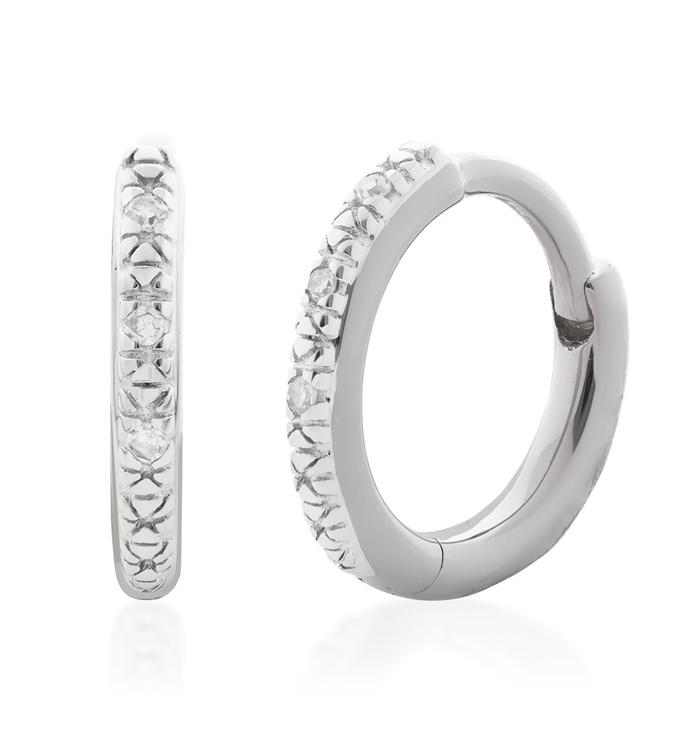 Sterling Silver Riva Mini Diamond Huggie Earrings - Diamond - Monica Vinader