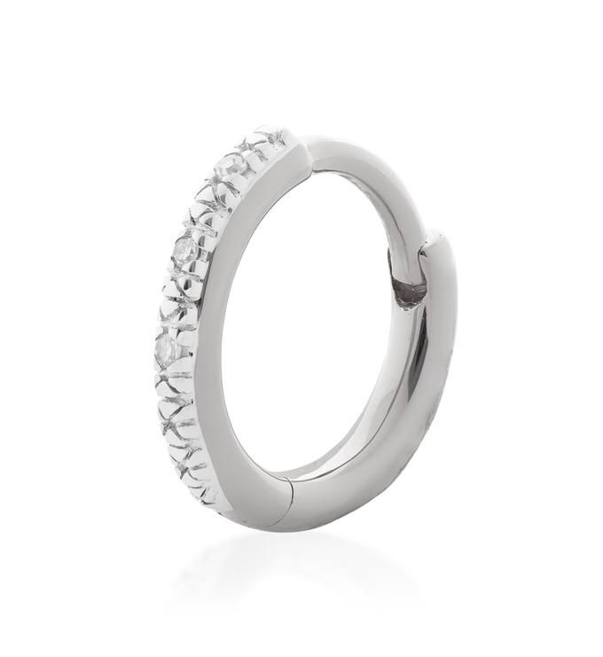 Sterling Silver Riva Mini Diamond Single Huggie Earring - Diamond - Monica Vinader