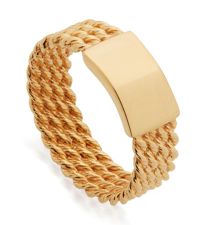 Gold Vermeil Corda Ring - Monica Vinader