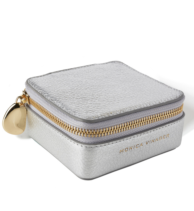 Leather Leather Travel Box - Silver - Monica Vinader