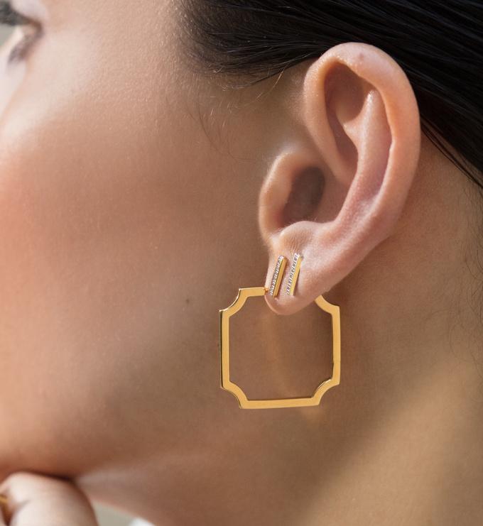 Gold Vermeil Signature Skinny Hoop Earrings - Monica Vinader