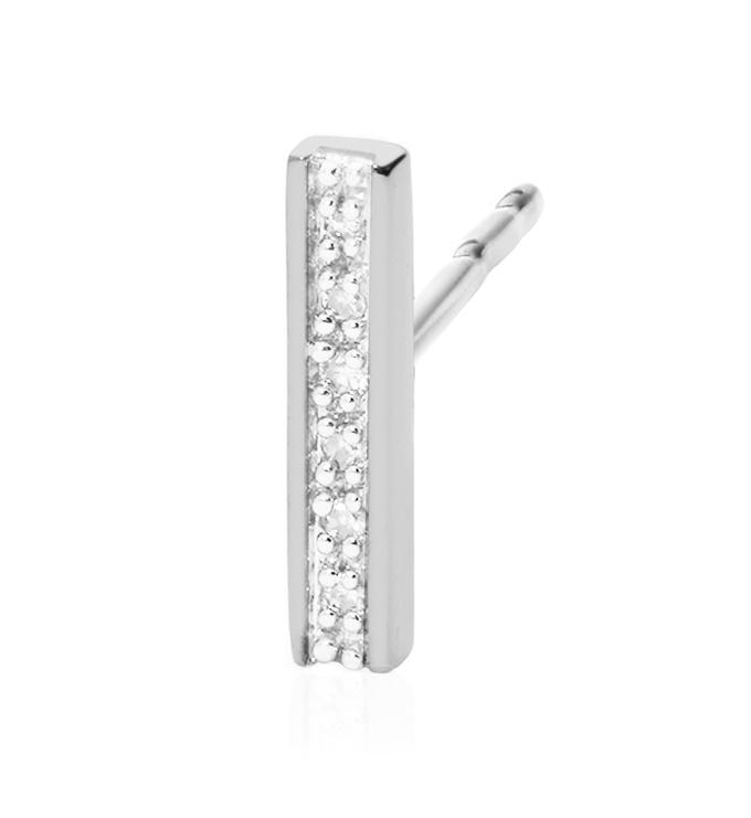 Sterling Silver Signature Skinny Diamond Single Stud Earring - Diamond - Monica Vinader