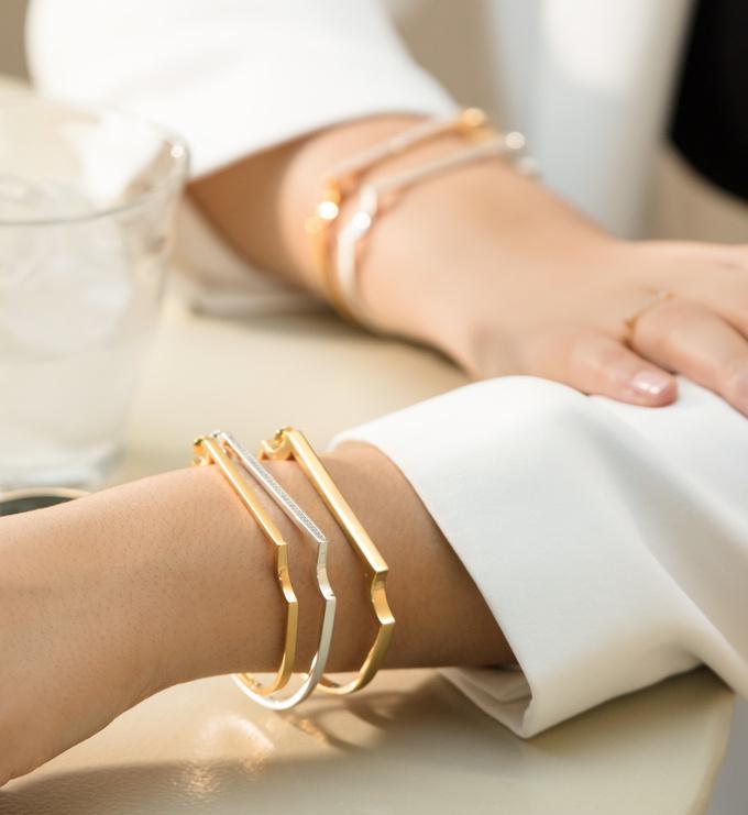 Rose Gold Vermeil Signature Skinny Diamond Bangle - Diamond - Monica Vinader